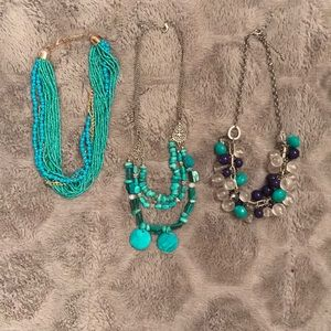 Jewelry - Lot of 3 never worn statement necklaces turquoise